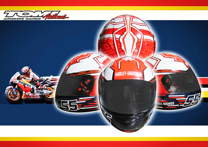 Helm Modifikasi Airbrush Marc Marquez