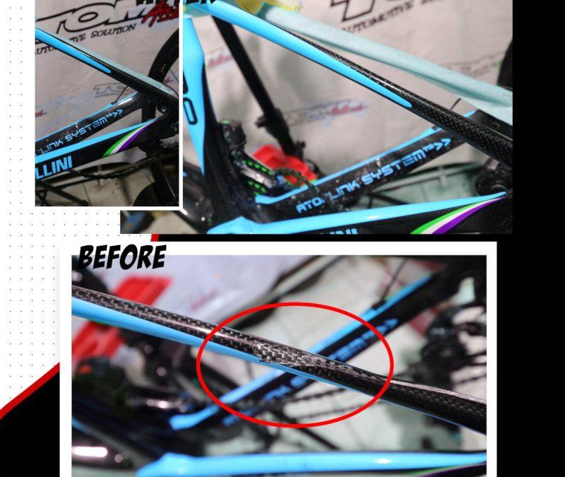 Repair Frame Sepeda Carbon Seperti Ini Sulit Kembali Mulus